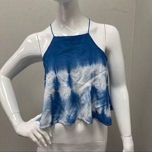 Lulus Blue & White Tie Dye Open Tie Back Crop Top